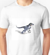 Illustration of a Raptor dinosaur playing soccer. Unisex T-Shirt