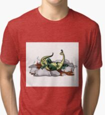Illustration of a Hadrosaurus relaxing in a jacuzzi. Tri-blend T-Shirt