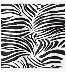 Black and white striped zebra animal seamless vector print Poster