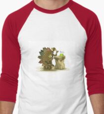Illustration of a Stegosaurus drinking a beverage. Men's Baseball ¾ T-Shirt