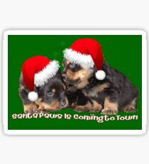 Santa Paws Is Coming To Town Christmas Greeting Sticker