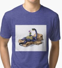 Illustration of a Brontosaurus sunbathing. Tri-blend T-Shirt