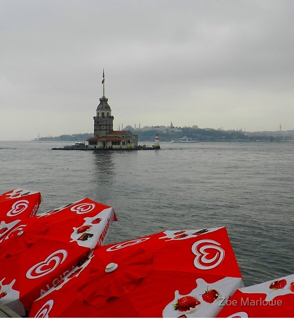 The Maiden Tower in the Rain, Istanbul by Zoe Marlowe