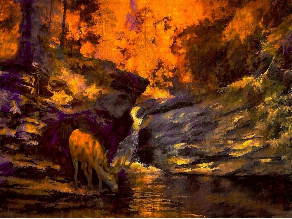 Fire at Totem Falls by Wib Dawson