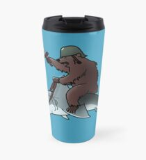 Bear riding a shark Travel Mug