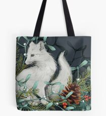 Arctic Fox Holiday Portrait Tote Bag