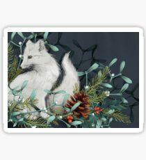 Arctic Fox Holiday Portrait Sticker
