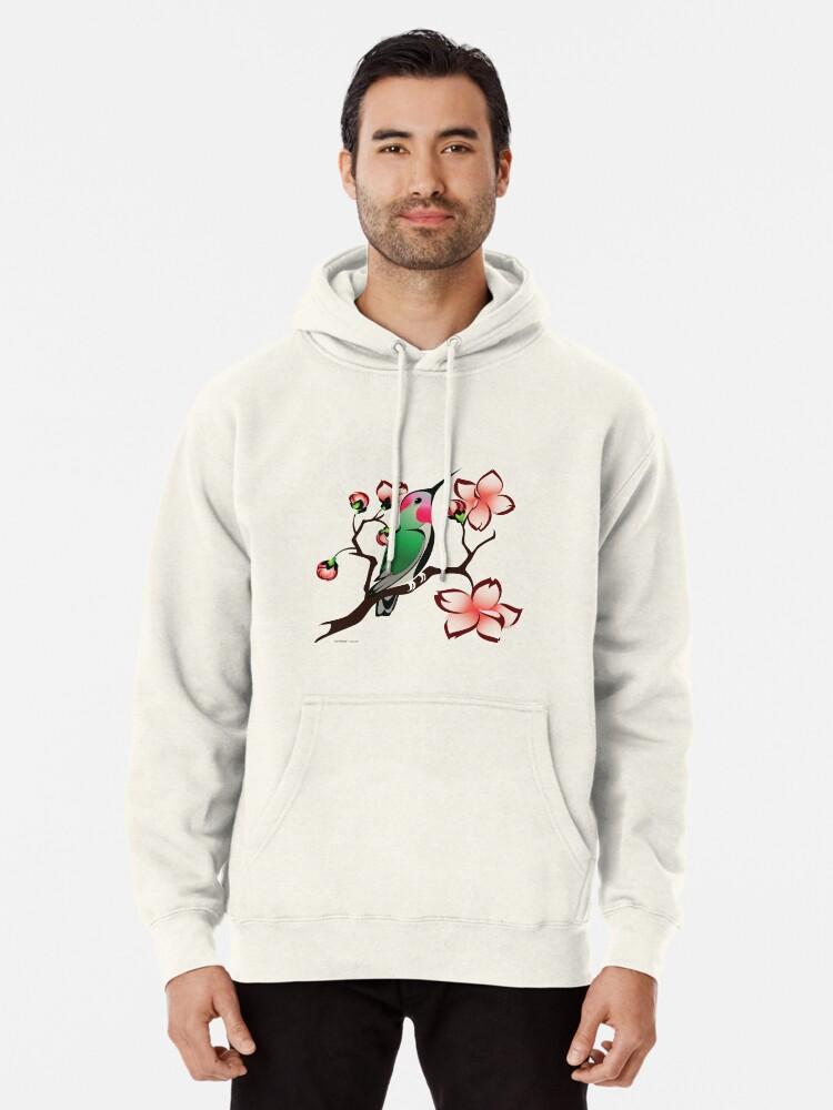 Spring Hummingbird and Butterfly Mans Long Sleeve Hoodie Casual Pocket Hooded Sweatshirt