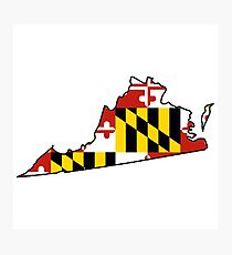 Maryland flag Virginia outline Photographic Print
