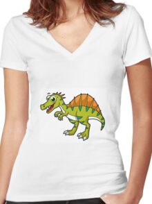 Cute illustration of a smiling Spinosaurus. Women's Fitted V-Neck T-Shirt