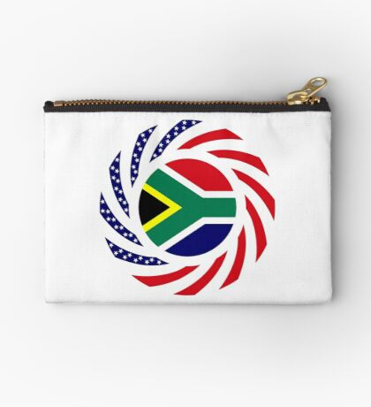 South African American Multinational Patriot Flag Series Zipper Pouch