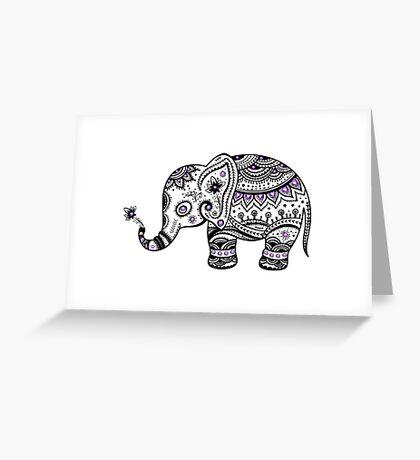 Black With Purple Diamonds Floral Elephant Greeting Card
