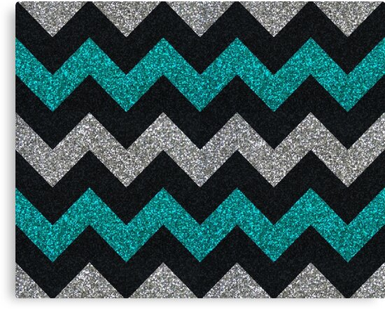 Lienzos «Teal silver black glitter chevron pattern» de ...