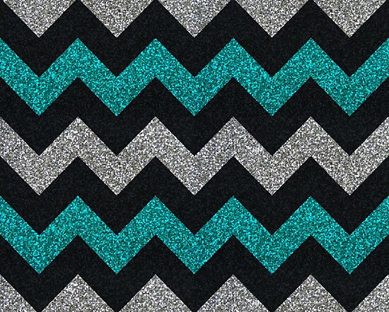 Teal Silver Black Glitter Chevron Pattern Photographic Prints By New Cheveron Pattern