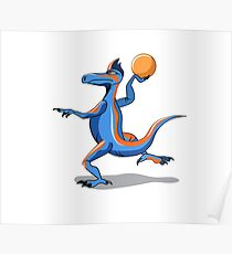Illustration of an Iguanodon playing basketball. Poster