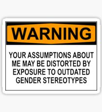 WARNING: YOUR ASSUMPTIONS ABOUT ME MAY BE DISTORTED BY EXPOSURE TO OUTDATED GENDER STEREOTYPES Sticker