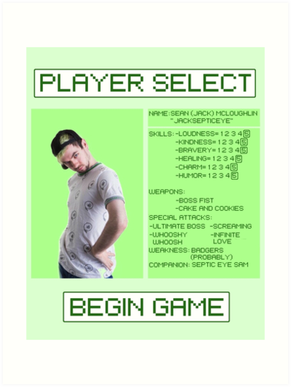 Jacksepticeye Player Select Screen by Samantha Le Quesne