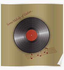 Musical retro plate. Vinyl disk Poster