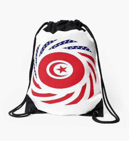Tunisian American Multinational Patriot Flag Series Drawstring Bag