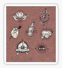 Old school tattoo drawings Sticker