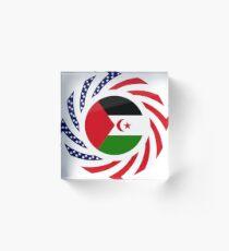 Sahrawi Arab Democratic Republic American Multinational Patriot Flag Series Acrylic Block