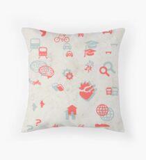 Urban mobility symbols Throw Pillow