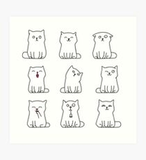 Nine cute white kittens Art Print