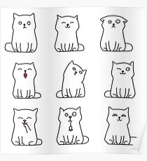 Nine cute white kittens Poster