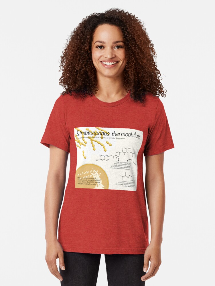 Alternate view of Streptococcus thermophilus Tri-blend T-Shirt
