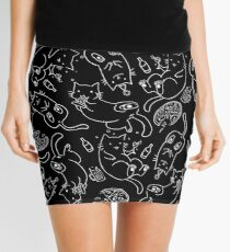 Cat Party (White on Black) Mini Skirt