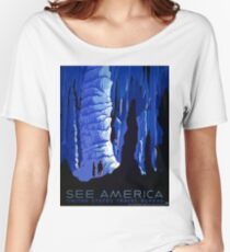 Vintage Blue Carlsbad Caverns WPA Travel Poster Women's Relaxed Fit T-Shirt