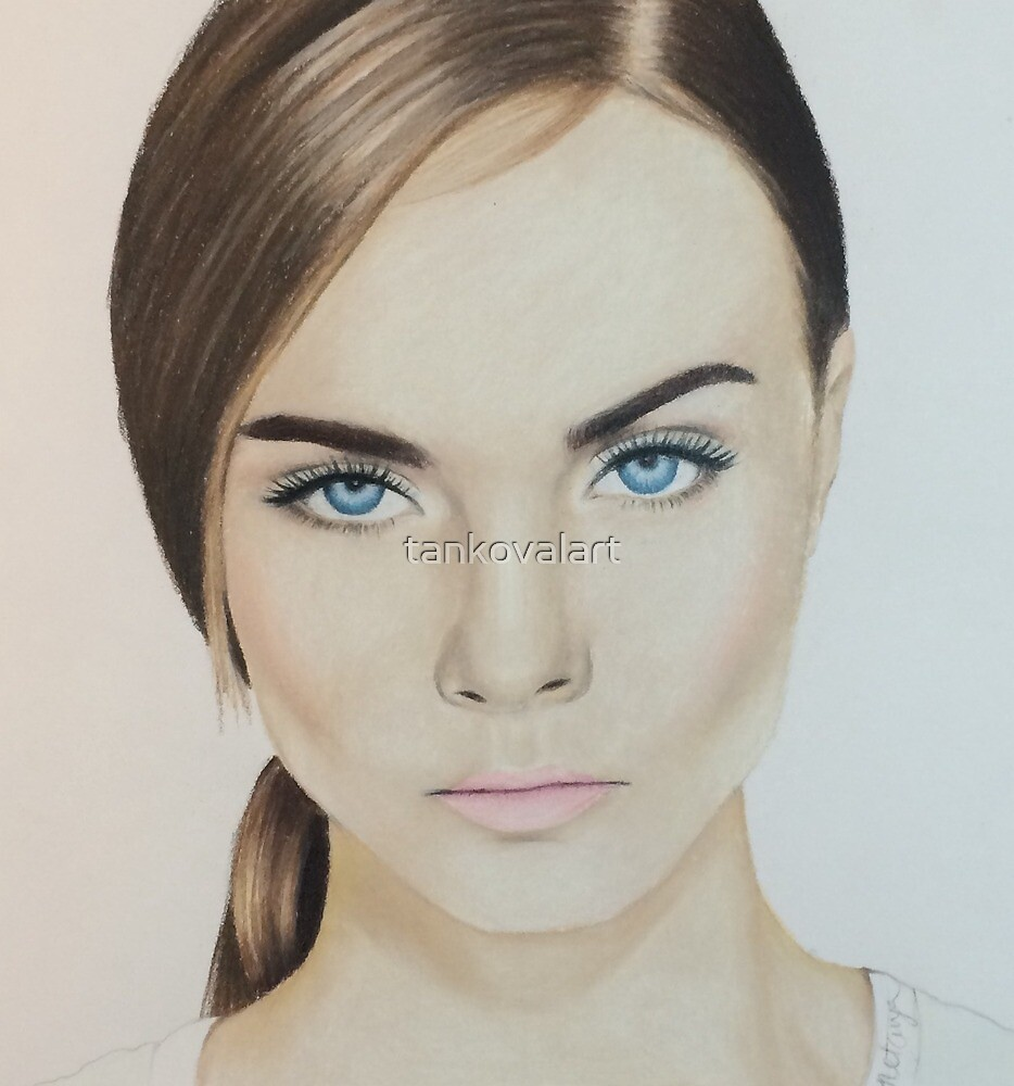 Cara Delevingne colored pencil by tankovalart