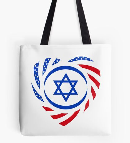 Israeli American Multinational Patriot Flag (Heart) Tote Bag