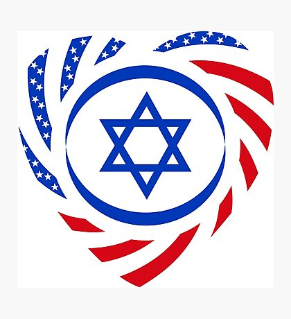 Israeli American Multinational Patriot Flag (Heart) Photographic Print