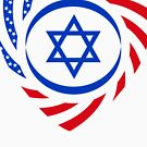 Israeli American Multinational Patriot Flag 2.0 by Carbon-Fibre Media