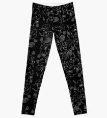Cat Party (White on Black) Leggings