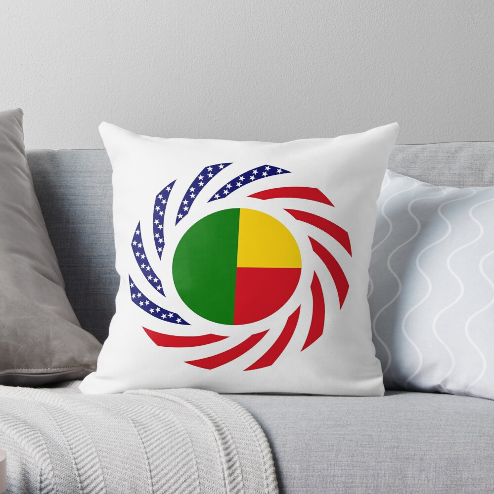Benin American Multinational Patriot Flag Series Throw Pillow