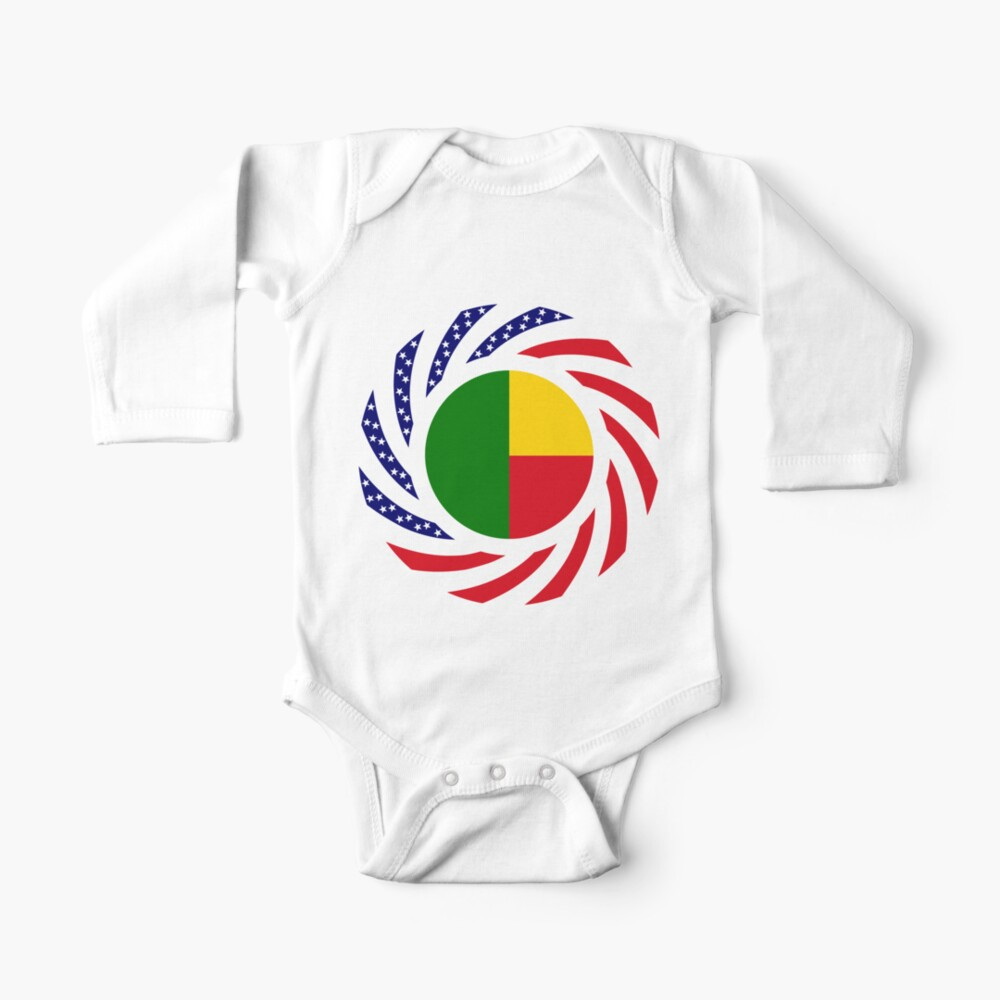 Benin American Multinational Patriot Flag Series Baby One-Piece