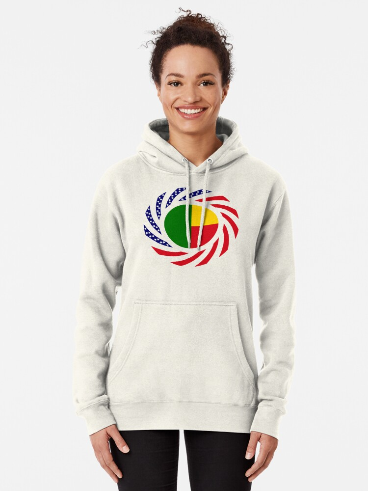 Alternate view of Benin American Multinational Patriot Flag Series Pullover Hoodie
