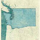 Washington State Map Blue Vintage by HubertRoguski