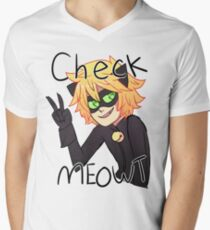 Check Meowt! Cat Noir Men's V-Neck T-Shirt