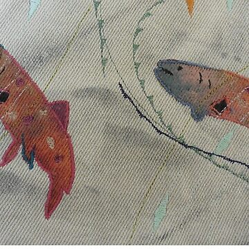 Two Abstract Brook Trout. Print of Embroidered Textile by Jackie Wills by jackiewills