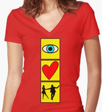 i love dance / west coast swing Women's Fitted V-Neck T-Shirt