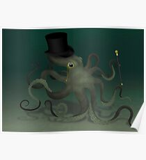 Octopus in a top hat Poster