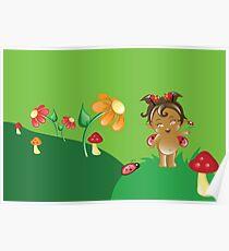 Cute Ethnic Ladybug Flower Fairy Poster