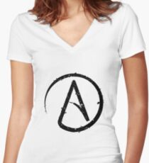 ATHEISM SYMBOL Women's Fitted V-Neck T-Shirt