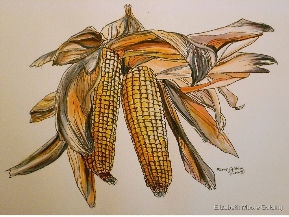 Drying sweetcorn, Italy pen and wash 2010 by Elizabeth Moore Golding