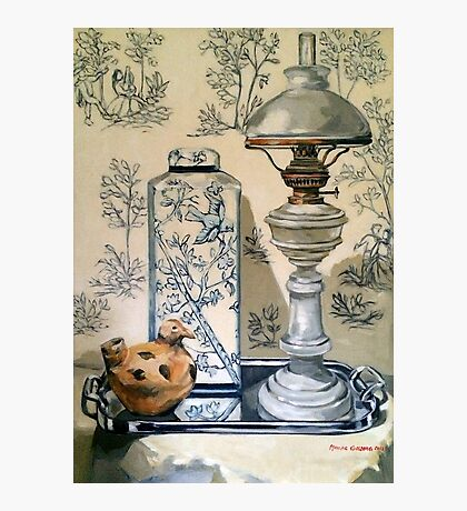 Still life with ginger jar and lamp, on toile. 2012Ⓒ Oil on canvas Photographic Print