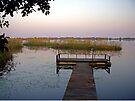 Pier at Nguma Lake, Botswana, at sunset. by Margaret  Hyde