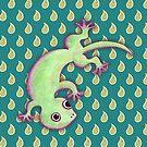 Gecko Print Teal by Paul Webster